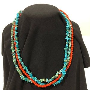Jewelry - Turquoise and coral strand necklace.